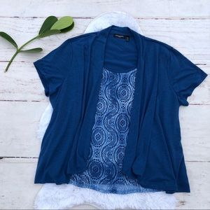Notations Blue 2 in 1 Blouse 3X